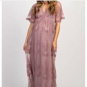 Pink Blush Maternity Mauve Lace Dress
